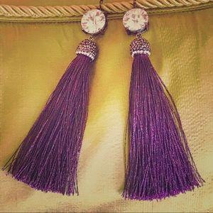 Jewelry - Handmade earrings in gunmetal and plum